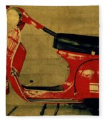 Vintage Vespa Scooter Red Fleece Blanket