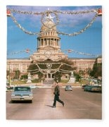 Vintage View Of The Texas State Capitol And Christmas Decorations Strung Along Congress Avenue From December 1960 Fleece Blanket