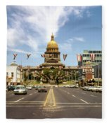 Vintage View Of The Texas State Capitol And Downtown Austin From September 1968 Fleece Blanket