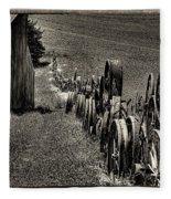 Vintage Wheel Fence Fleece Blanket
