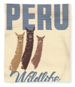 Vintage Wild Life Travel Llamas Fleece Blanket