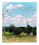 Vintage Windmill Fleece Blanket