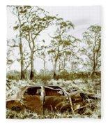 Vintage Winter Car Wreck Fleece Blanket
