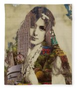 Vintage Woman Built By New York City 1 Fleece Blanket
