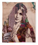 Vintage Woman Built By New York City 2 Fleece Blanket