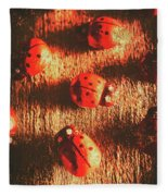 Vintage Wooden Ladybugs Fleece Blanket
