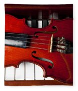 Viola On Piano Keys Fleece Blanket