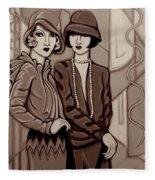 Violet And Rose In Sepia Tone Fleece Blanket