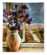 Violet Beach Flowers Fleece Blanket