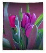 Violet Colored Tulips Fleece Blanket