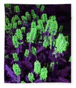 Violet Dream On Green Fleece Blanket