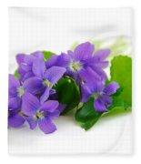 Violets On White Background Fleece Blanket
