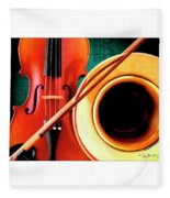 Violin And French Horn Fleece Blanket