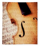 Violin And Musical Notes Fleece Blanket