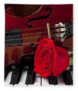 Violin And Rose On Piano Fleece Blanket