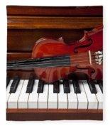 Violin On Piano Fleece Blanket