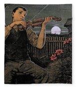 Violin Player To The Moon Fleece Blanket