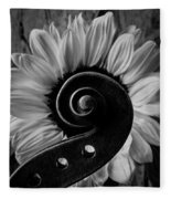 Violin Scroll And Sunflower In Black And White Fleece Blanket