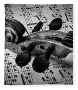 Violin Scroll On Sheet Music Fleece Blanket