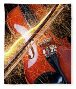 Violin With Sparks Flying From The Bow Fleece Blanket