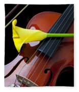 Violin With Yellow Calla Lily Fleece Blanket
