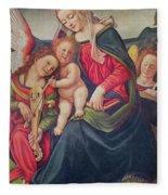 Virgin And Child And Angel Musicians  Fleece Blanket