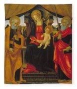 Virgin And Child Between Saint Peter And Saint Paul Fleece Blanket