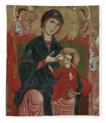 Virgin And Child Enthroned With Saints Leonard And Peter And Scenes From The Life Of Saint Peter Fleece Blanket