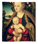 Virgin And Child Under An Apple Tree Fleece Blanket