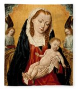 Virgin And Child With Two Angels Fleece Blanket