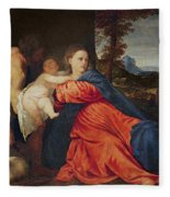 Virgin And Infant With Saint John The Baptist And Donor Fleece Blanket