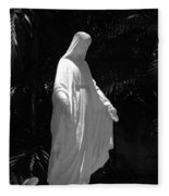 Virgin Mary In Black And White Fleece Blanket