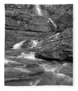 Virginia Falls Glacier Cascades - Black And White Fleece Blanket