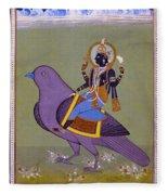 Vishnu On A Bird Fleece Blanket