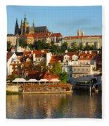 Vitus Cathedral Over Vltava  Fleece Blanket