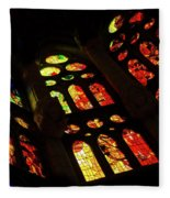 Vivacious Stained Glass Windows Fleece Blanket