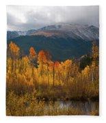 Vivid Autumn Aspen And Mountain Landscape Fleece Blanket