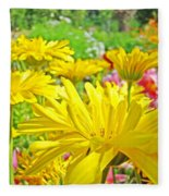 Vivid Colorful Yellow Daisy Flowers Daisies Baslee Troutman Fleece Blanket