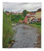 Vltava River As It Runs Slowly Through Cesky Krumlov In The Czech Republic Fleece Blanket