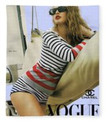 Vogue, Coco Chanel, Vintage Nautical Look, Yatching Fleece Blanket