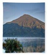 Volcano And Reflection Lake Atitlan Guatemala Fleece Blanket