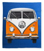 Volkswagen Type - Orange And White Volkswagen T 1 Samba Bus Over Blue Canvas Fleece Blanket
