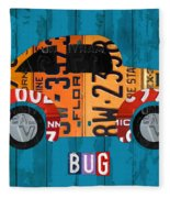 Volkswagen Vw Bug Vintage Classic Retro Vehicle Recycled License Plate Art Usa Fleece Blanket