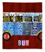 Volkswagen Vw Bus Vintage Classic Retro Vehicle Recycled License Plate Art Usa Fleece Blanket