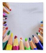 Vortex Of Colored Pencils On The Sheet Of Paper Fleece Blanket