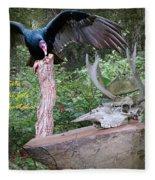 vulture with Skull Fleece Blanket