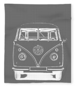 Vw Van Graphic Artwork Tee White Fleece Blanket