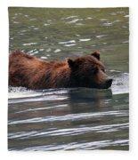 Wading Brown Bear Fleece Blanket