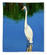 Wading Great White Egret Fleece Blanket
