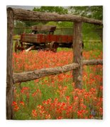 Wagon In Paintbrush - Texas Wildflowers Wagon Fence Landscape Flowers Fleece Blanket